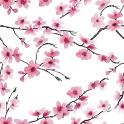 Linen Fabric - Cherry Blossoms Natural