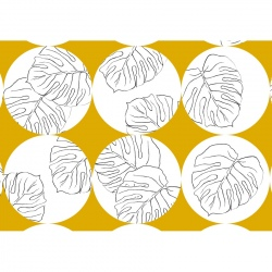 Tea Towel - Yellow Circles with Leaves